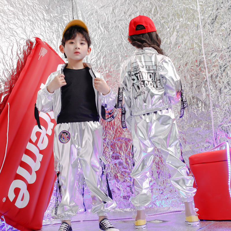 Boys And Girls Hip Hop Dance Suit Kids Jazz Dance Costumes Silver Sequin Clothes Children Street Dance Performance Outfit VO519
