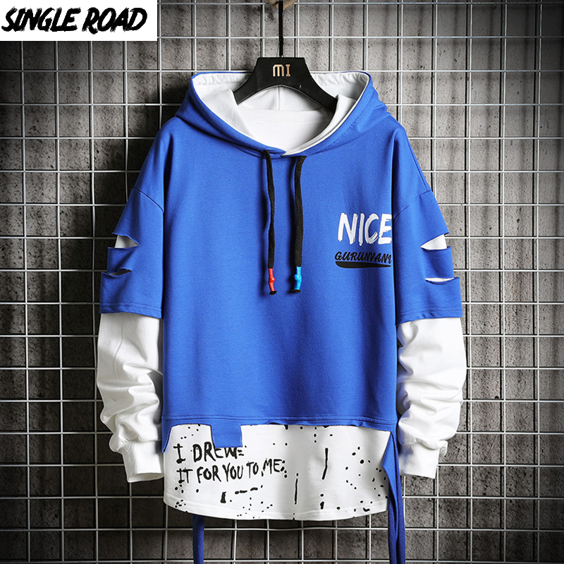 SingleRoad Oversized Men's Hoodies Men Ripped Patchwork Hip Hop Japanese Streetwear Harajuku Blue Hoodie Men Sweatshirt Male