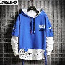 Singleroad特大メンズパーカー男性 2020 はパッチワークヒップホップ日本ストリート原宿ブルーパーカーメンズシャツ男性