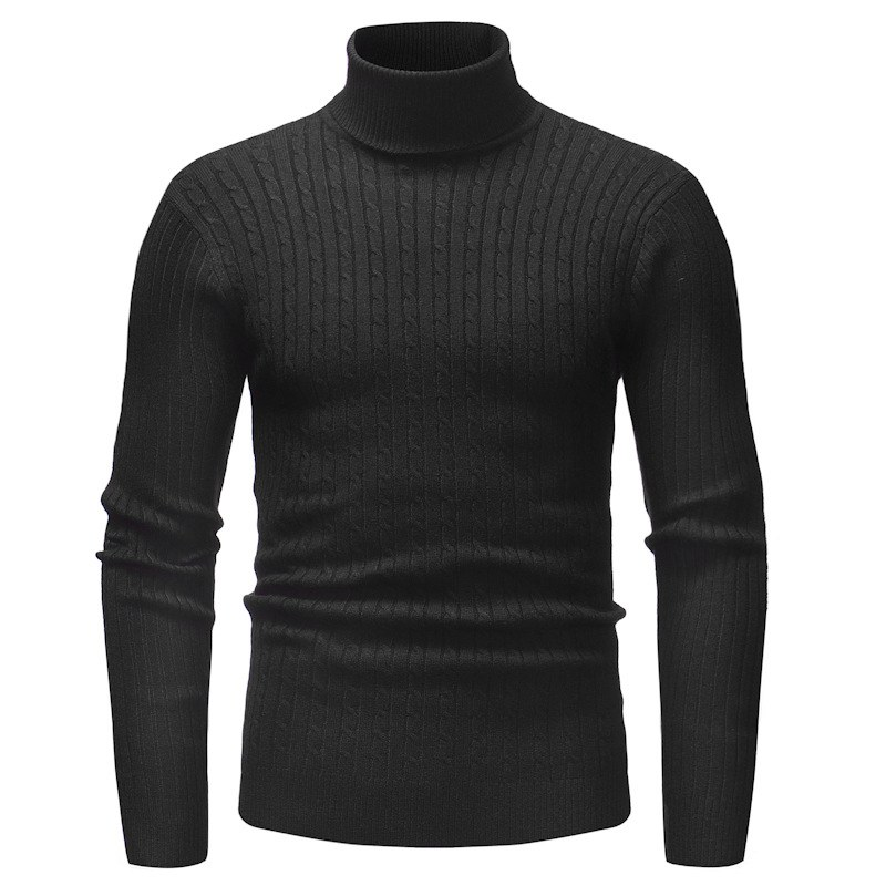 Autumn Winter Men\'s Cotton-blend Bottoming Sweater High Collar Long-sleeved Solid Color Slim Warm Sweater