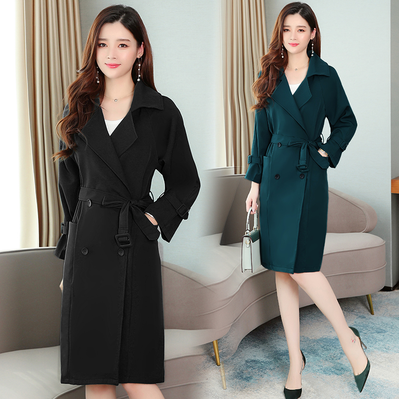 Women Mid-long   Trench   Coat Autumn Spring Elegant Office Casual Over Coat 2 Colors Black Green Korean Style Duster Coat New