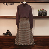Plus Size Two Piece Set Women 2019 Autumn Winter Knitted Suit Fashion Knitted Sweater Jacket+loose Skirt 2Pcs Sets