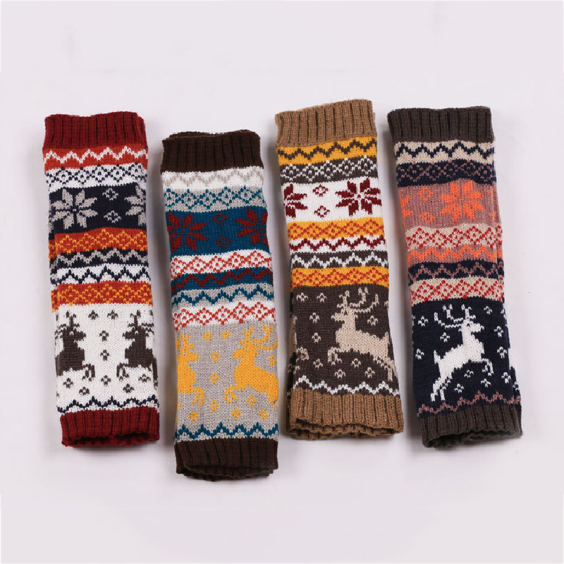 Women Wool Arm Warmers Winter Keep Warm Christmas Snow Elk Fingerless Gloves Knitted Mitten Long Gloves Guantes Tactical Gloves
