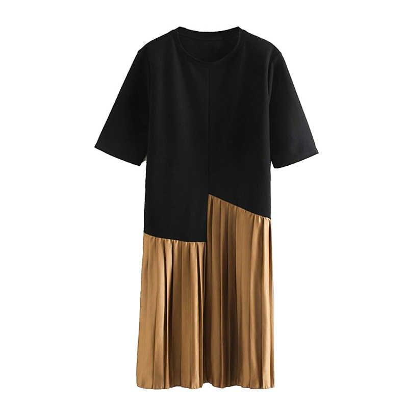ZOEPO Dünne Patchwork Kleider Frauen Mode O Neck Plissee Kleid Frauen Elegante Kurzarm Mittlere Waden Kleider Weibliche Damen KD