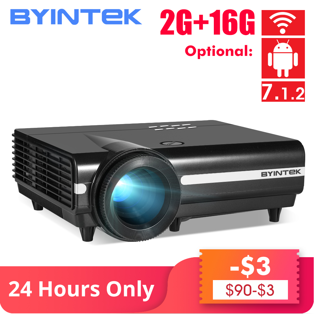 BYINTEK MOON BT96Plus Android Wifi Smart Video 1080P LED Projector For Full HD Home Theater Support 4K Online Video