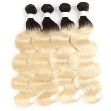 Mechones de pelo humano ondulado Rubio degradado dos tonos, extensiones de pelo ondulado brasileño, 1 unidad, extensión de cabello no Remy, 1B/613
