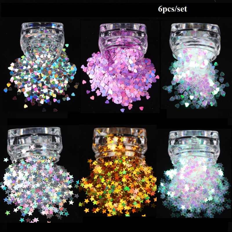 6 Kotak Manis Cinta Hati Bintang Nail Glitter Payet Holo Perak Emas Shinning Paillette Flakes Bahasa Polandia Manikur Seni Dekorasi