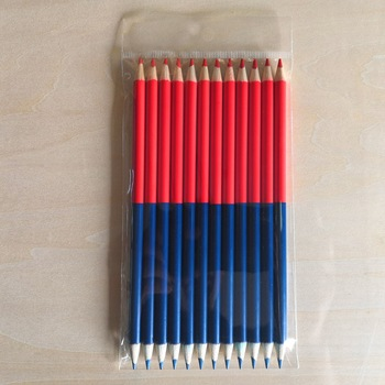12pcs/set Creative Red And Blue Double-ended Pencils High Concentration Pencil Student Model Construction Woodworking Marker pen 1