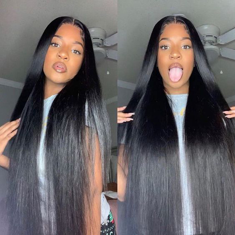 180 Density Lace Closure Wig Straight Lace Front  Wigs 8-30 Inches Long  Wig Frontal Wig 4x4 Pre Plucked 1