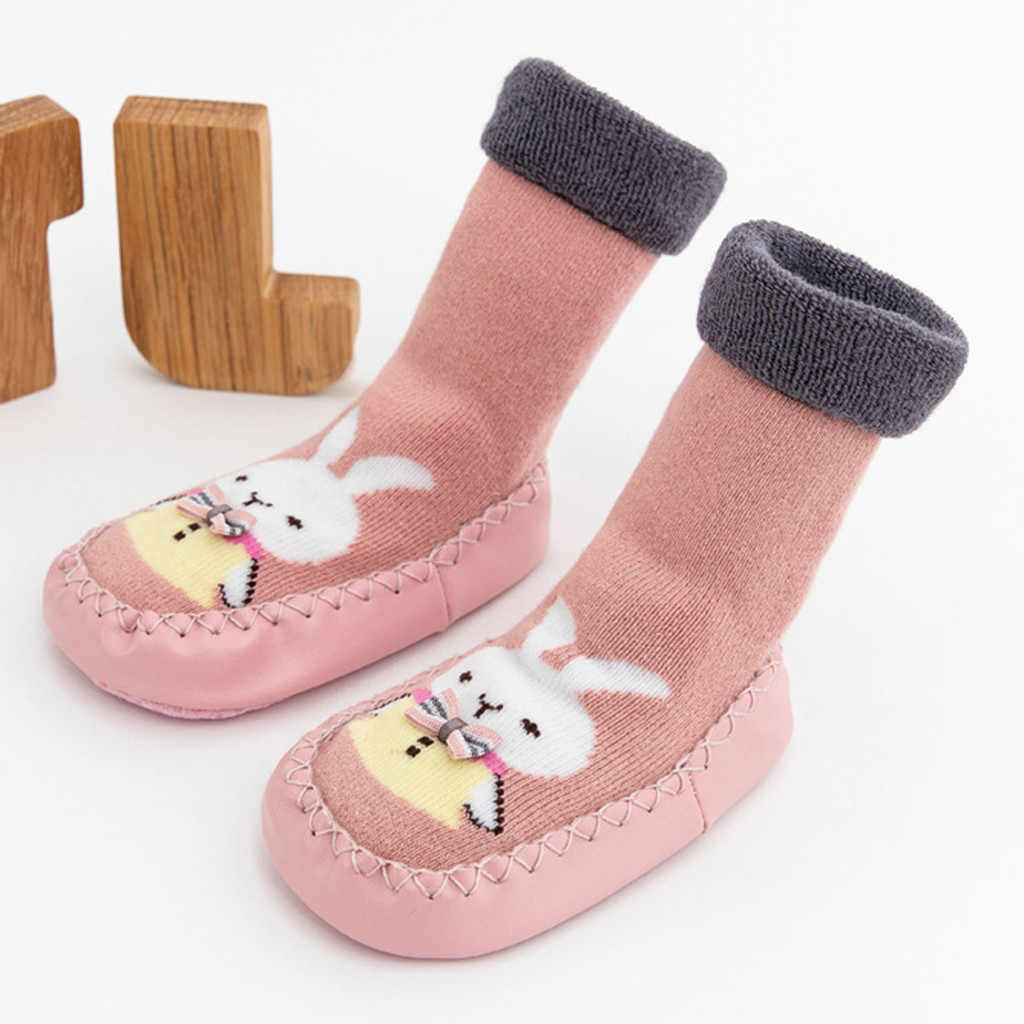 Nette Baby Cartoon Socken Schuh Winter Neugeborenen Baby Jungen Mädchen Cartoon Nette Warmen Boden Socken Anti-Slip Baby Schritt socken Zubehör