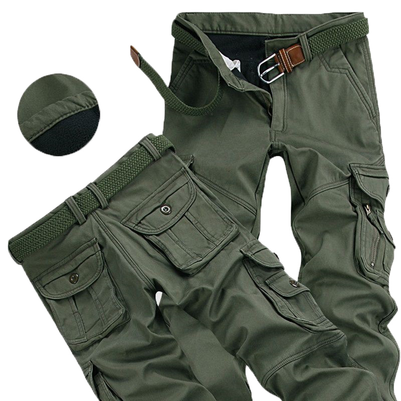 Mens Winter Pants Thick Warm Cargo Pants Casual Fleece Pockets Fur Trouser Plus Size 38 40 Fashion Loose Baggy Joger Worker Male