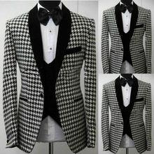 Хаундстут Мужские костюмы Slim Fit Свадебные платья набор жениха 3 шт смокинги из твида