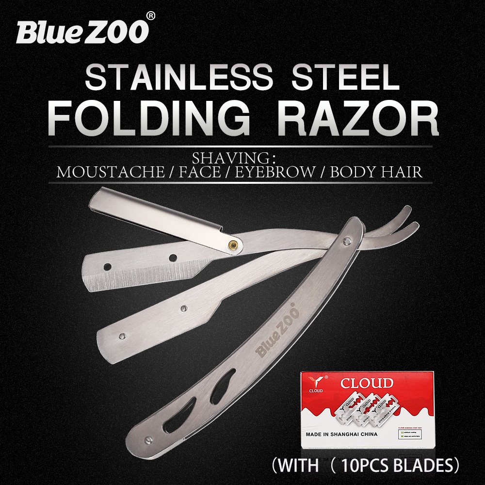 Men Shaving Barber Tools Hair Razor And Blades Silver White Folding Shaving Knife Stainless Steel Straight Razor Holder