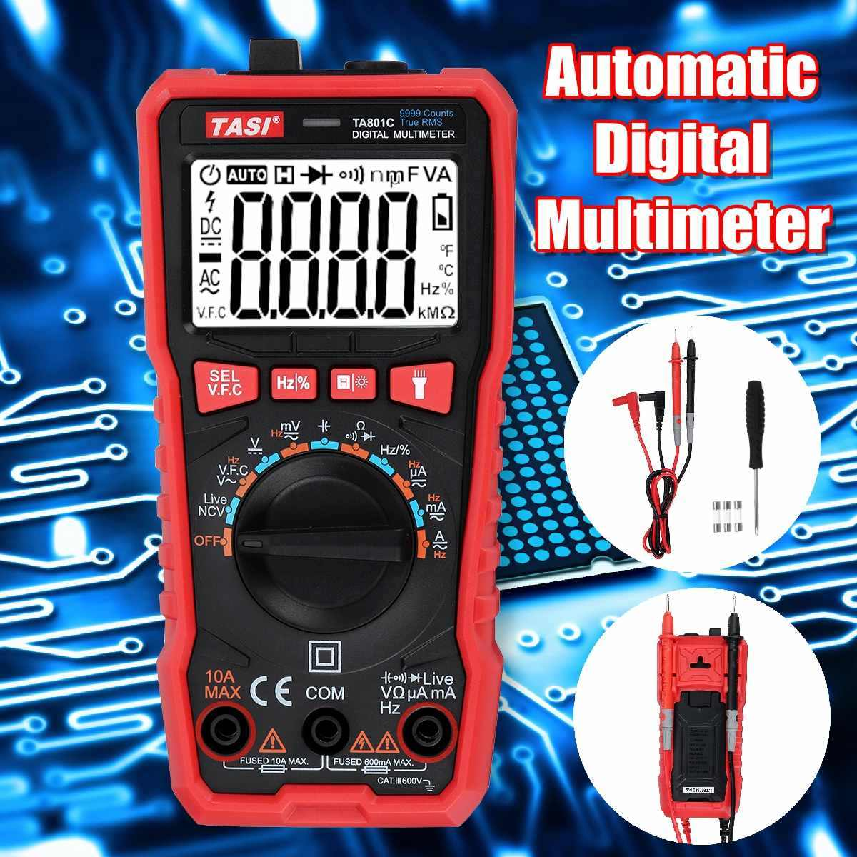 Ta801c True Rms Lcd Digital 9999 Counts Automatic Multimeter Ac Dc