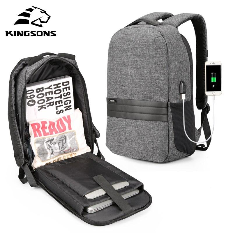 Kingsons hommes sac à dos avec chargement USB 180 degrés sac de voyage ouvert 15.6 inchLaptop sac à dos sac d'école étanche pour les garçons adolescents