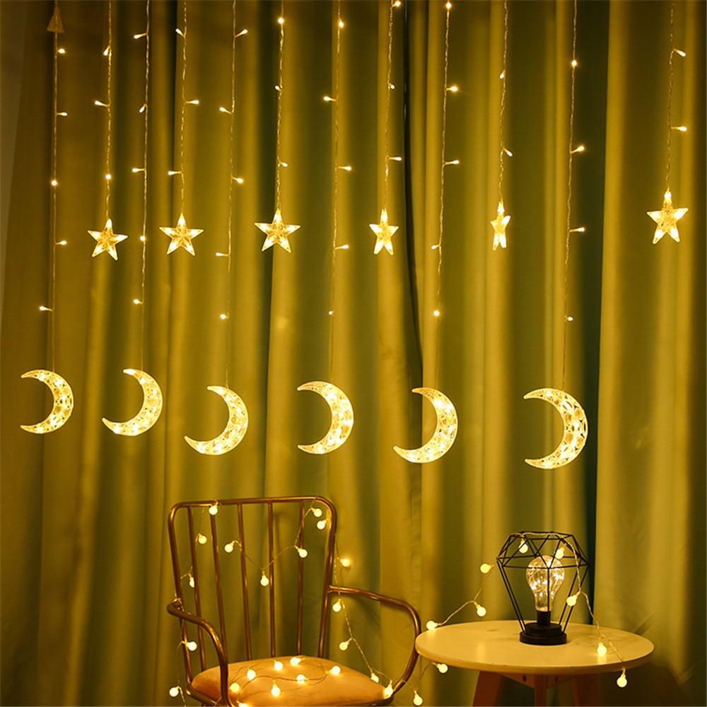 2.5M 138Leds LED Moon Star Lamp Christmas Garland String Lights Fairy Curtain Light For Wedding Holiday Garden Decoration