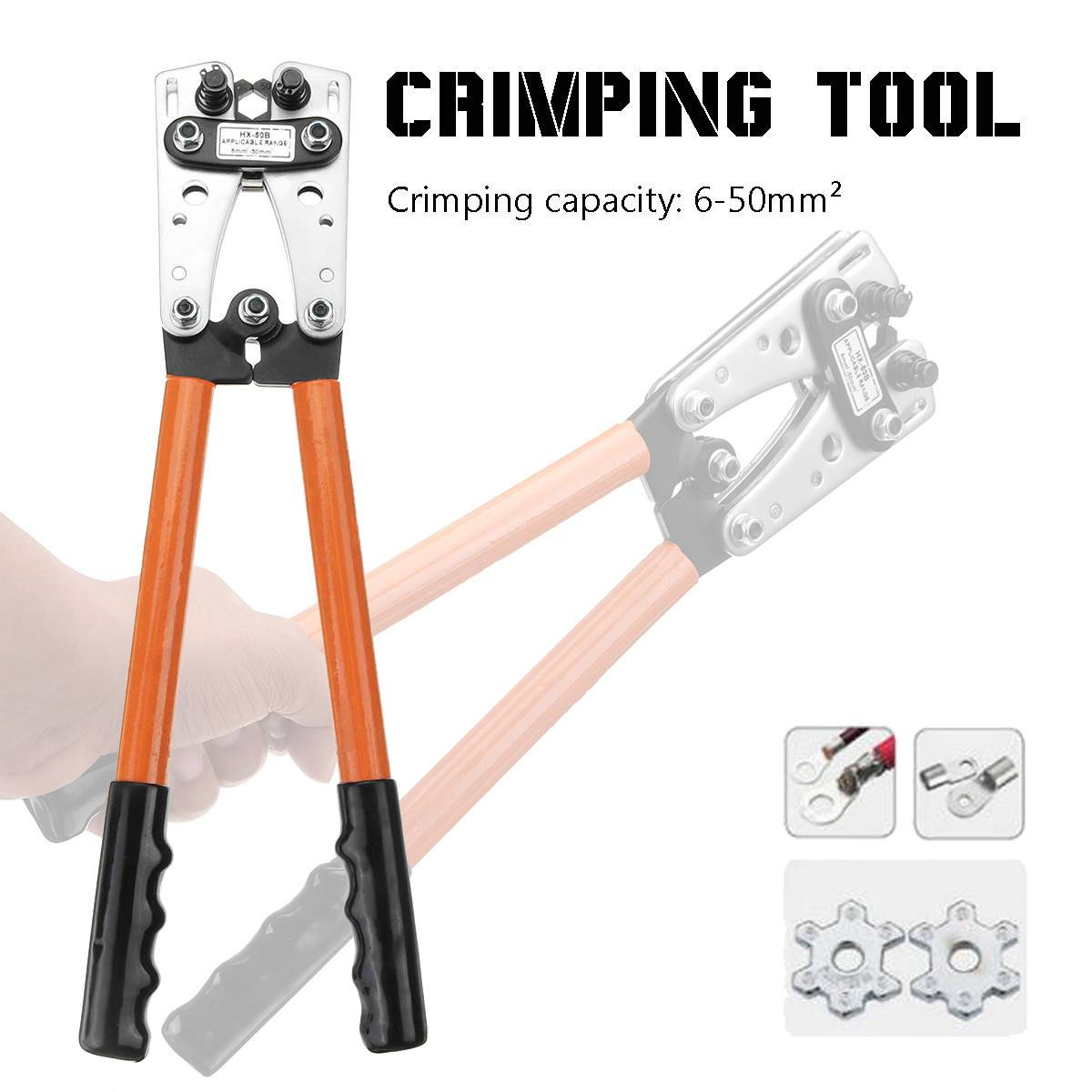 6-50mm 2 Crimp Tube Terminal Crimper Tool Battery Cable Lugs Pliers Hex Crimping Tool Cable Terminal Plier Hand Tools HX-50B