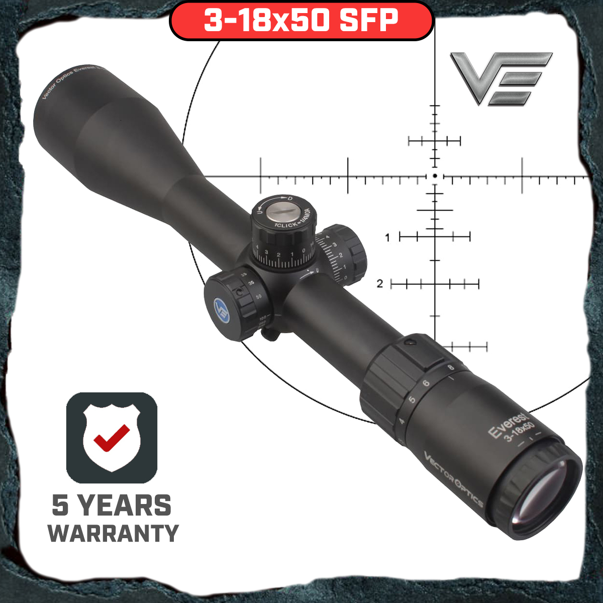 Vector Optics GenII Everest 3-18x50 AR15 Scope Air Gun Riflescope Hunting Tactical MOA With Honeycomb Mark Ring .223 .308 5.56