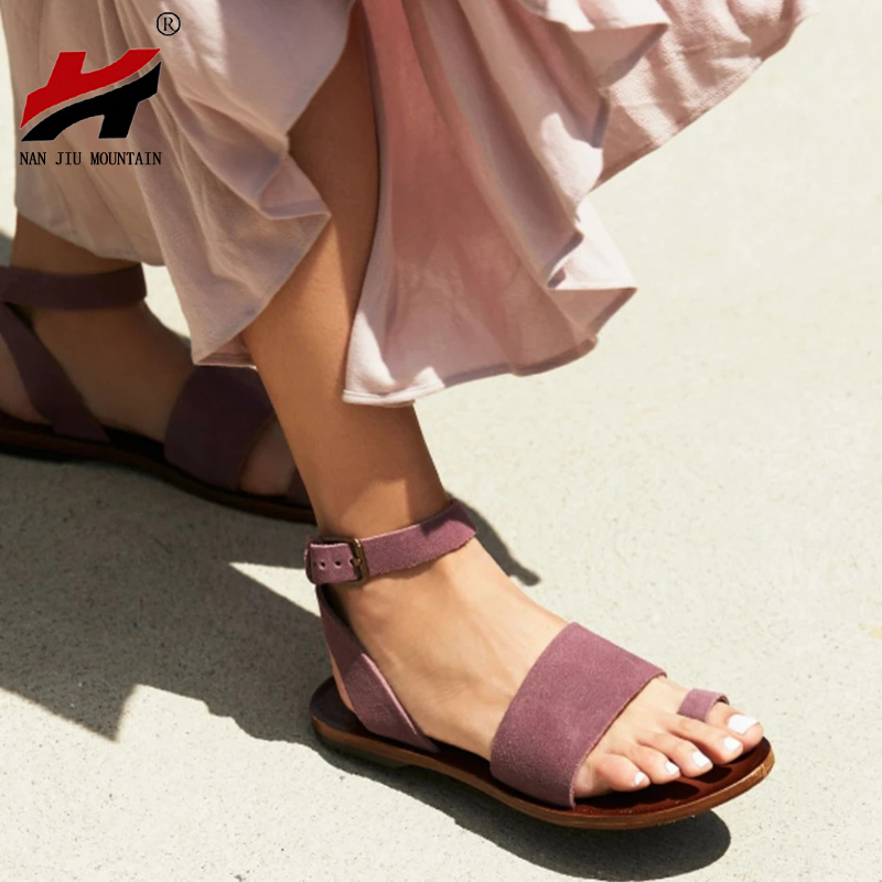 NAN JIU MOUNTAIN 2020 Flat Sandals Summer Women Simple Sandals Open Toe Buckle Comfortable Casual Shoes Plus Size 35-43