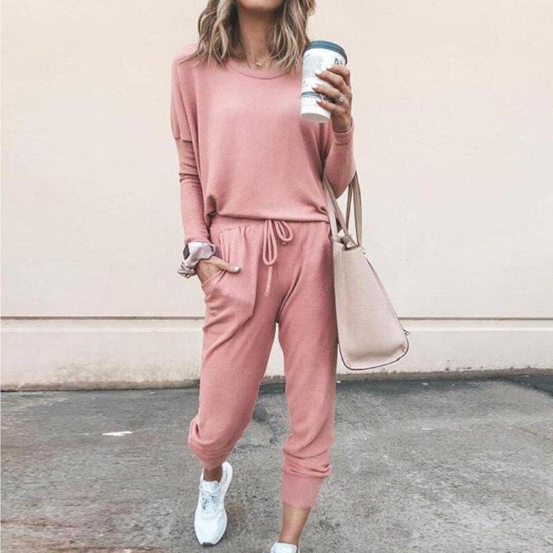 Women Casual Jumpsuits 2020 Long Sleeve Loose Long Pants  Jumpsuit Plus Size S-3XL Cotton Sportswear Two Piece Suit Round Neck
