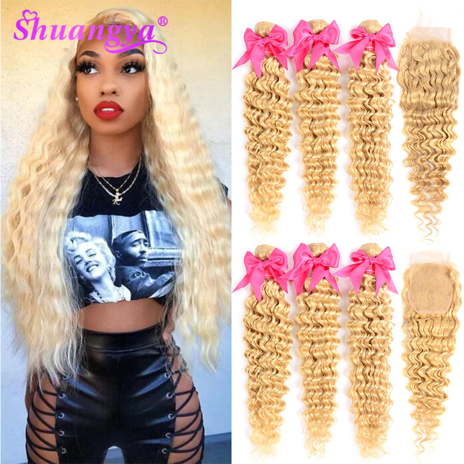 Honey Blonde 613 Bundles With Closure Malaysian Deep Wave Bundles With Closure Remy 613 Honey Human Hair Bundles With Closure image