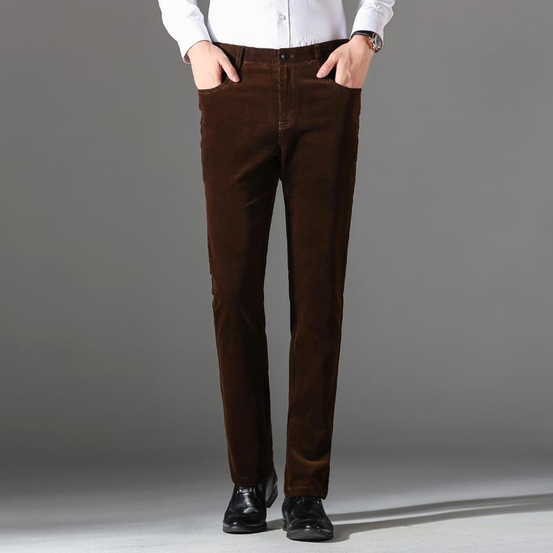 Winter Corduroy Pants Men Fashion Slim Men Trousers Casual Khaki Black  Stretch Pants For Men Patalon Homme
