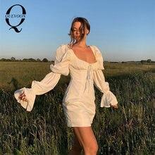 Женское платье миди quevoon белое с рукавами фонариками и квадратным