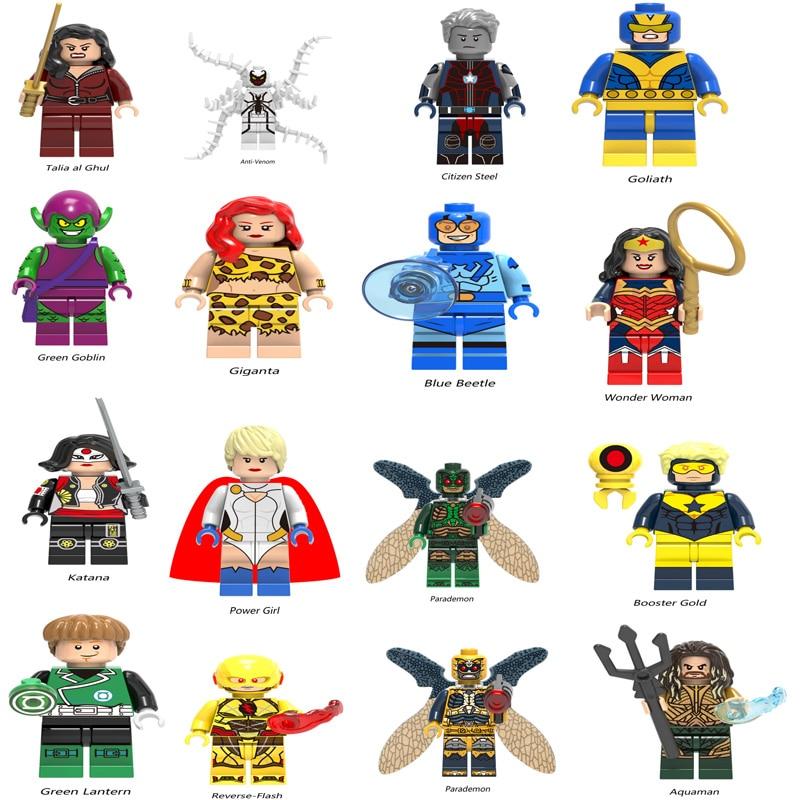 Legoingly Super Heroes Figure Mini Avengers Marvel DC Figures Lex Luthor Lobo Cheetah Bizarro  Aquaman Cyborg Kids Toys