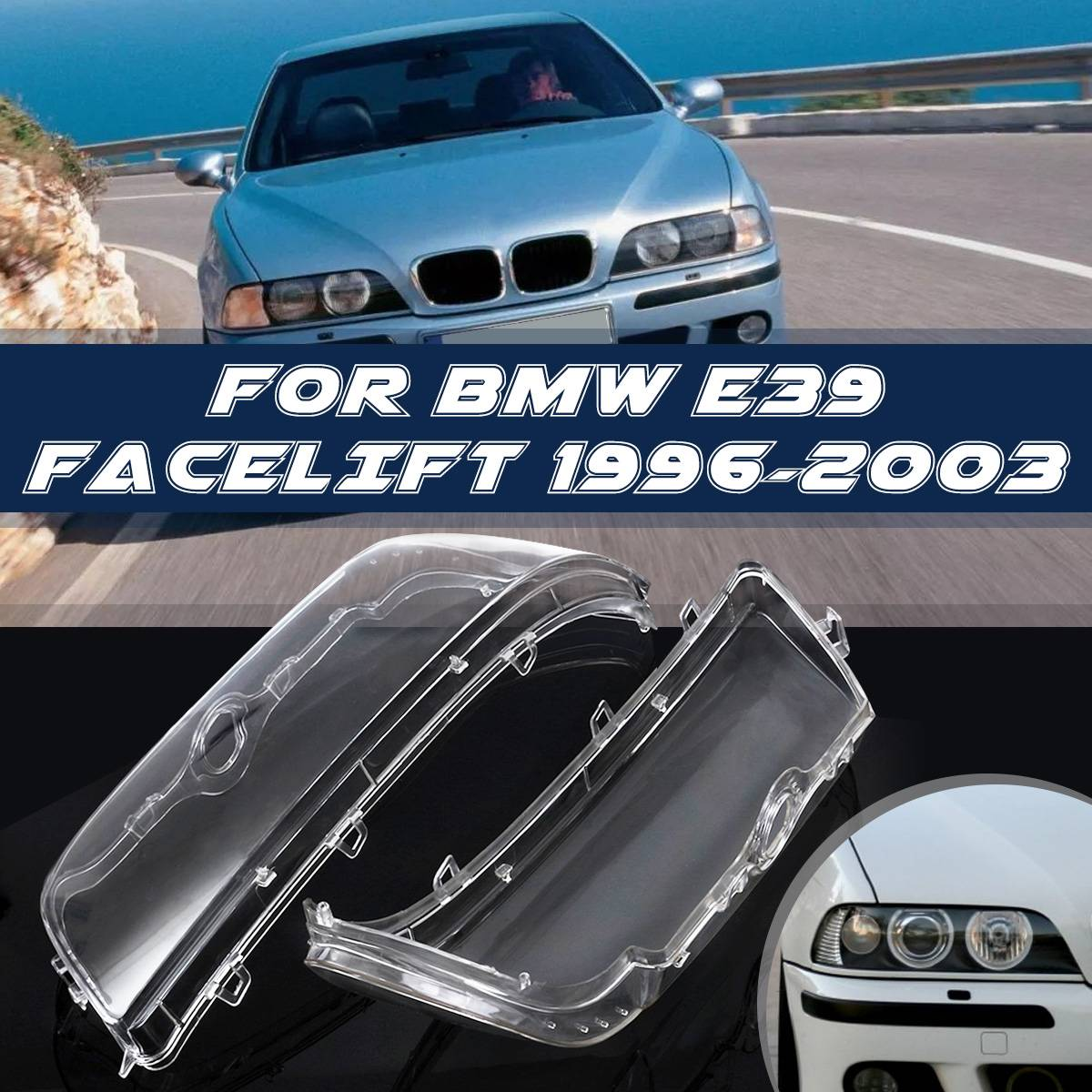 Headlight Case For BMW E39 1996-2003 Headlight Cover Shell Headlight Glass Lens Automobiles Headlamp Lense Kit High Quality