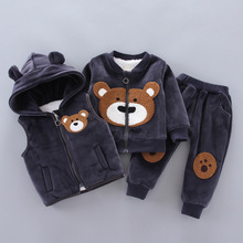 Baby Boys Girls Clothing Set 2020 Winter Fleece Children Cartoon Bear Hoodie Outerwear Outfits Kids Toddler Warm Costume Suit