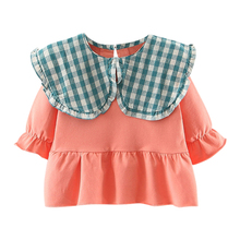 New Baby Girl Dress 0-3T Autumn Cute Toddler Fashion Casual All-match Lovely Sweet Doll Large Lapel Long Sleeve T-shirt