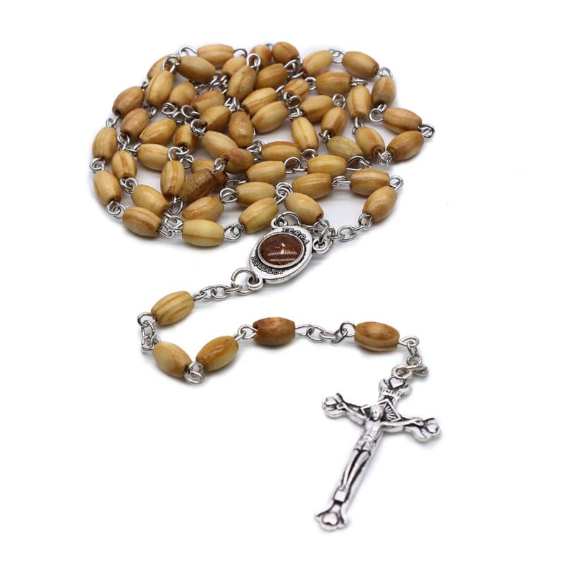 Handmade Round Bead Catholic Rosary Cross Religious Wood Beads Necklace Gift High Quality And Brand New