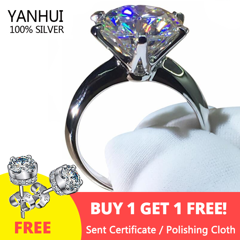 Sell at a loss! Have Certificate Silver 925 Ring 18K White Gold Pt Ring Natural 2.0ct Zirconia Gemstone Wedding Rings For Women