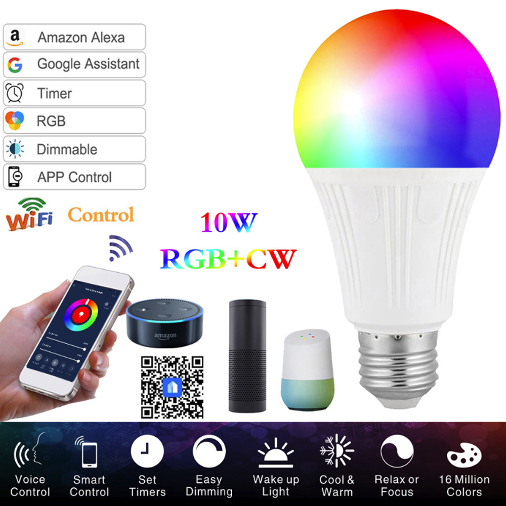10W WIFI Smart Bulb DIY Color RGB Music Mode Function LED Lamp Alexa Google Assistant Voice Control  E27 B22  Magic Bulb