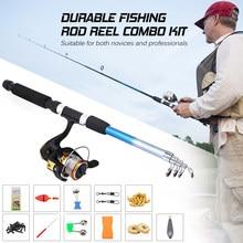 Carretel de pesca vara combo conjunto pesca pólo molinete conjunto com acessórios pesca para vara pesca