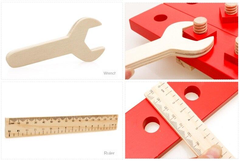 conjunto de ferramentas de madeira educacional multifuncional mesa para presentes do menino