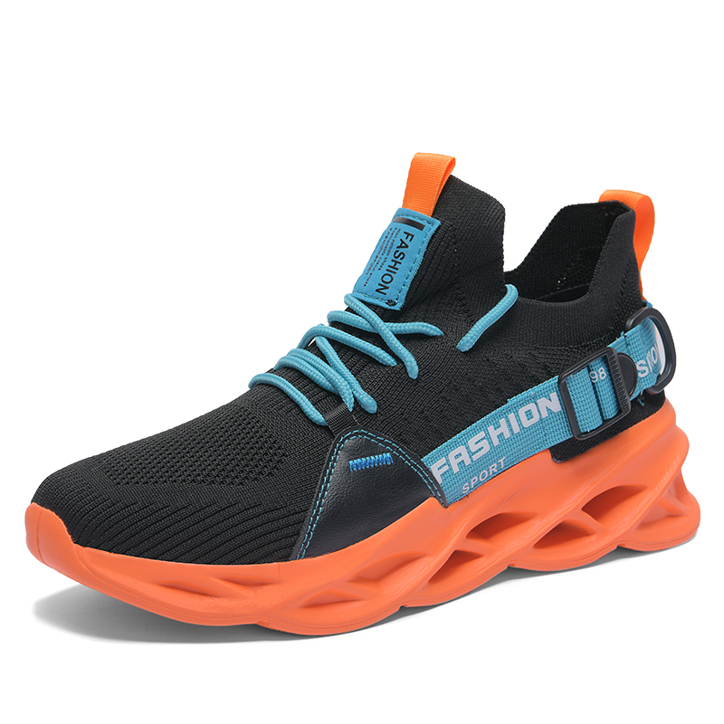 G133 Black Orange-Outdoor Men Sports Shoes High Quality Lace-up Breathable Sneakers