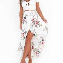 Women Floral Wrap Skirt Irregular 2019 New Summer Women Sexy Slit Skirt Chiffon Female Long Maxi Skirt Boho Beach