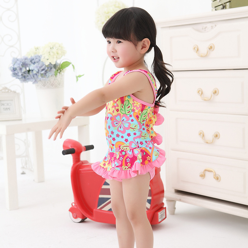 Brand Childrenswear Comfortable Bow Swimsuit Description Lace One-piece GIRL'S Hot Springs Flower CHILDREN'S Swimsuit