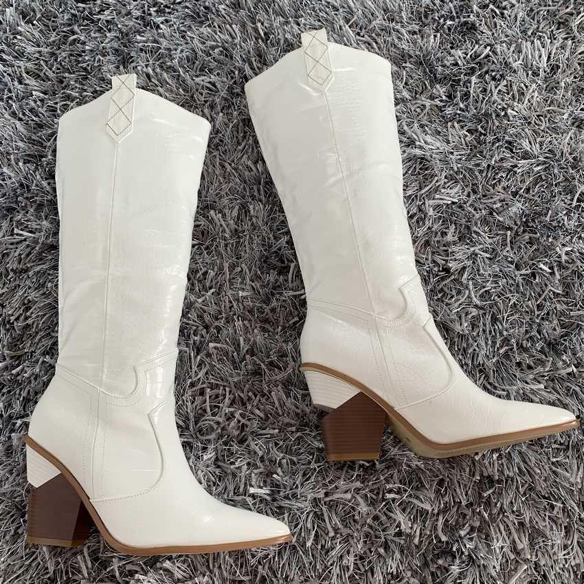 Merk microfiber leer vrouwen knie hoge laarzen sexy puntige teen hoge hakken westerse laarzen vrouwen Winter chunky wedge laarzen