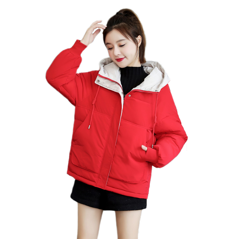 Winter Short   Basic     Jacket   Warm   Basic   Coat For Women 2019 Female Large Size With Stand-Up Collar 3XL Plus Size Candy Color Coat