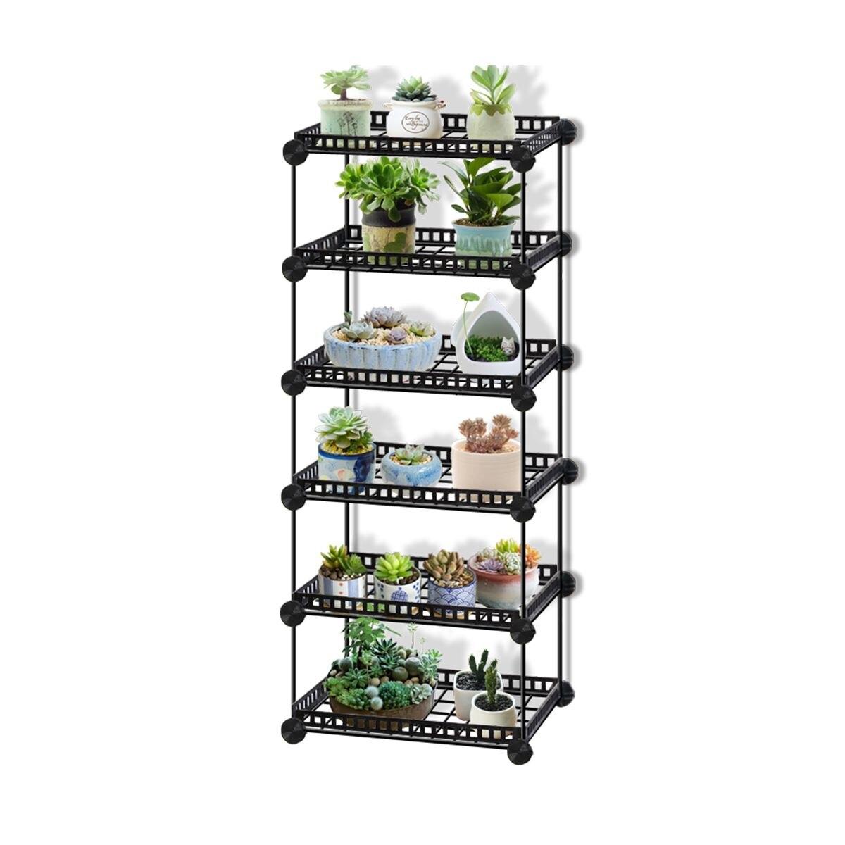 6/5/4/3 katmanlı dayanıklı Metal bitki rafları saksı tutucu bahçe raf ekran standı etli bitkiler ev balkon dekorasyon