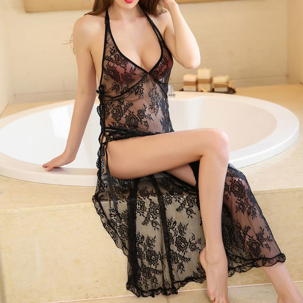 Women Lace Sexy Sleepwear Lingerie Nightwear Fashion Perspective Sleeveless Nightgowns See Through Robe Roupa Para Dormir 2019 E