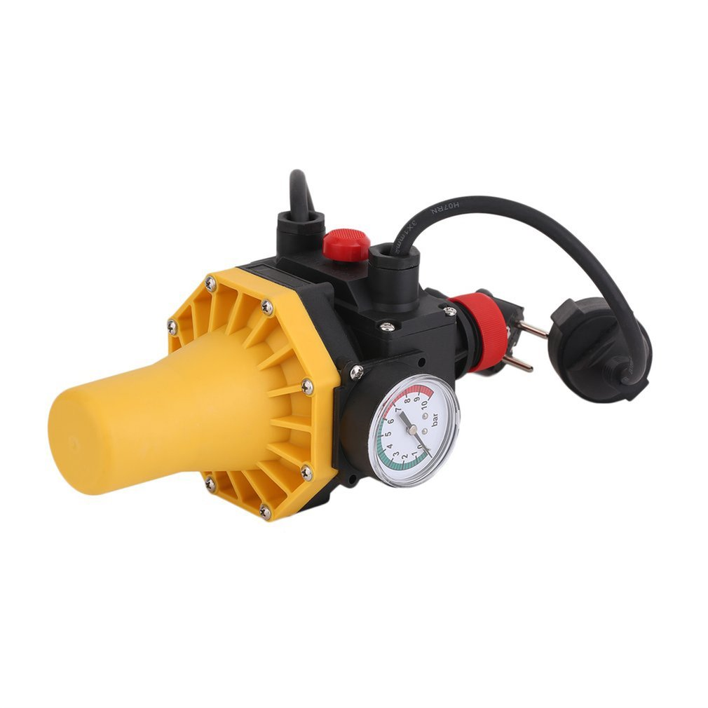 Newest PC03.C Shortage Protective Water Pump Automatic Pressure Control Switch Electronic Switch With Pressure Gauge EU Plug