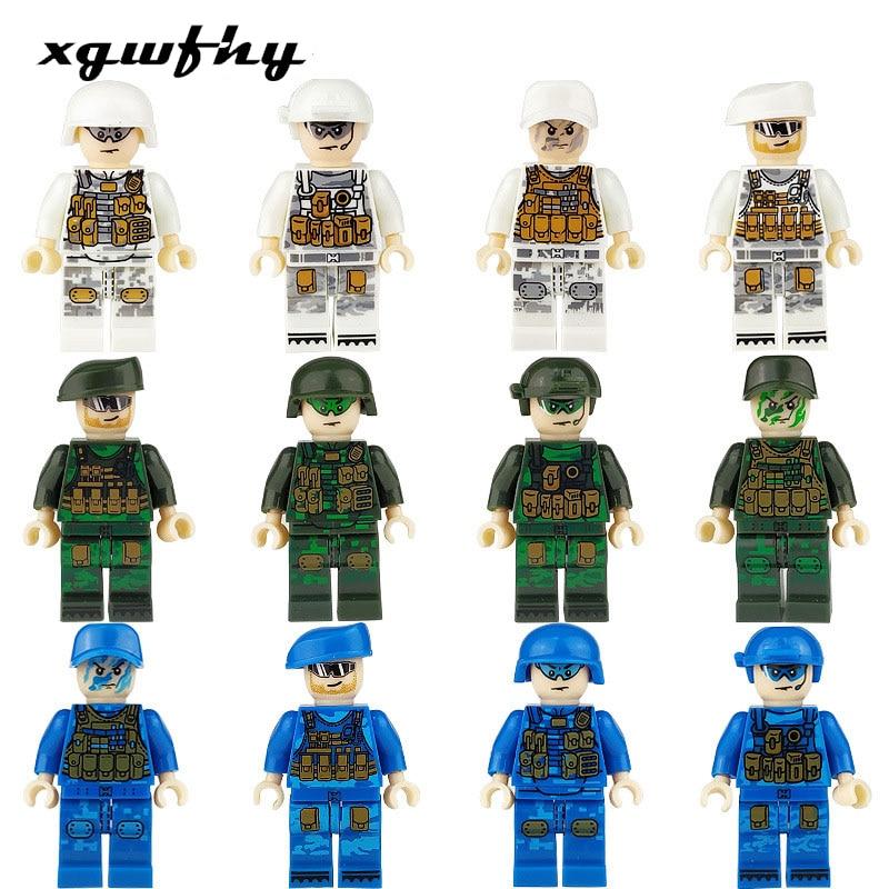 12pcs/set Military Special Forces Soldiers Bricks Figures Guns Weapons Compatible Lg Armed SWAT Building Blocks Kids Toys Jm215