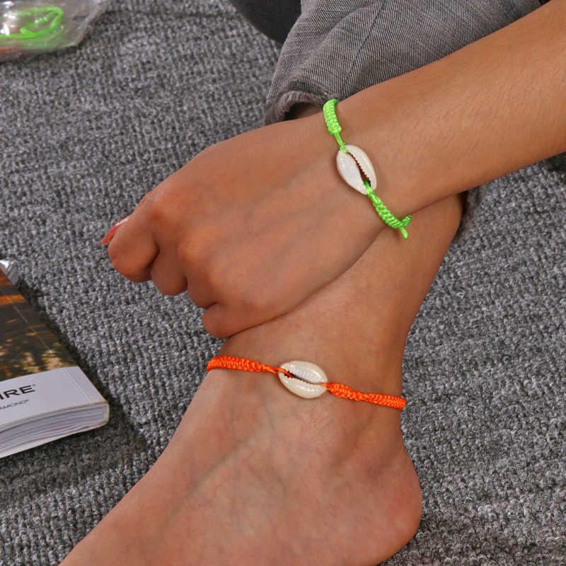 แฟชั่นสร้อยข้อมือผู้หญิงที่มีสีสันเชือกปรับเชลล์สร้อยข้อมือฤดูร้อน Boho เครื่องประดับ