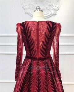 Image 5 - Robe de soirée en cristal bordeaux, manches longues, perles, fait à la main, robe de bal en velours, dubaï, modèle 2020