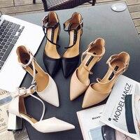 Новинка 2018 года; пикантные удобные тонкие туфли на толстом каблуке с острым носком; модные туфли на высоком каблуке с открытым носком