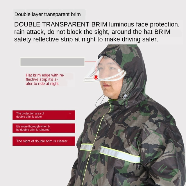 Large Plus-sized  Raincoat Men Women's Plus Size Fat People Camouflage Rain Coat Motorcycle Riding Rain Pants Impermeable Gift 1