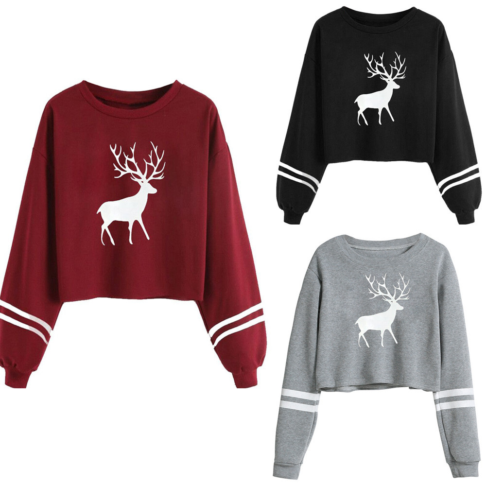 2019 New Girl Autumn Sweatshirts Clothing Women Casual Long Sleeve O Neck Deer Print Sweatshirt Tops Innrech Market.com